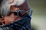 March 06, 2021: Jokey Mike Smith reflected in trainer Bob Bafferts glasse at Santa Anita Park in Arcadia, California on March 06, 2021. The two teamed up to win the 2018 Triple Crown with Justify. Evers/Eclipse Sportswire/CSM