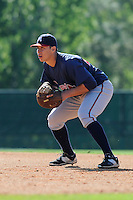 Infielder Joey Meneses (48) of the Atlanta Braves farm system in a Minor League Spring Training workout on Tuesday, March 17, 2015, at the ESPN Wide World of Sports Complex in Lake Buena Vista, Florida. (Tom Priddy/Four Seam Images)