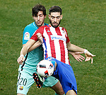 Atletico de Madrid's Yannick Ferreira Carrasco (r) and FC Barcelona's Sergi Roberto during Spanish Kings Cup semifinal 1st leg match. February 01,2017. (ALTERPHOTOS/Acero)