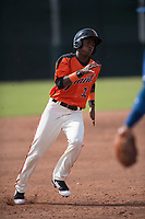 San Francisco Giants outfielder Alexander Canario (32) hustles to third base during an Instructional League game against the Kansas City Royals at the Giants Training Complex on October 17, 2017 in Scottsdale, Arizona. (Zachary Lucy/Four Seam Images)