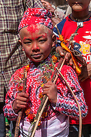 Nepal, Changu Narayan.  A Nine-year-old Hindu Boy Participating in his Bratabandha Ceremony Marking his Entry into Manhood.