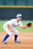 Burlington Royals third baseman Michael Mercurio (7) on defense against the Pulaski Mariners at Burlington Athletic Park on July 20, 2013 in Burlington, North Carolina.  The Royals defeated the Mariners 6-5.  (Brian Westerholt/Four Seam Images)