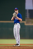 AZL Rangers relief pitcher Ryan Dease (19) prepares to deliver a pitch to the plate against the AZL Indians on August 26, 2017 at Goodyear Ball Park in Goodyear, Arizona. AZL Indians defeated the AZL Rangers 5-3. (Zachary Lucy/Four Seam Images)