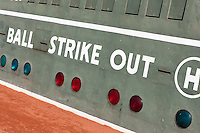 Part of the scoreboard showing balls, strikes, and outs on the Green Monster, the famed left field wall in iconic Fenway Park in Boston, Massachusetts.  Fenway is the oldest ballpark in Major League Baseball, dating from 1912.