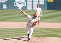 Arkansas Kevin Kopps (45) throws a pitch, Saturday, April 3, 2021 during the ninth inning of a baseball game at Baum-Walker Stadium in Fayetteville. Check out nwaonline.com/210404Daily/ for today's photo gallery. <br /> (NWA Democrat-Gazette/Charlie Kaijo)