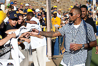 Cal Alum DeSean Jackson visits with fans. The California Golden Bears defeated the UCLA Bruins 35-7 at Memorial Stadium in Berkeley, California on October 9th, 2010.