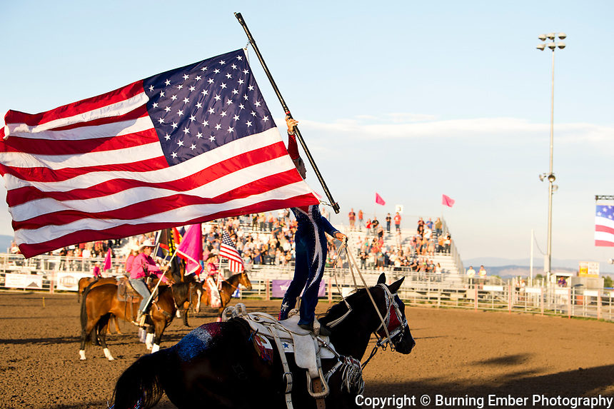 Madison McDonald, Magic In Motion Opening flag presentation at the Helena MT Last Chance Stampede 2nd perf July 26th 2019.  Photo by Josh Homer/Burning Ember Photography.  Photo credit must be given on all uses.