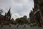 © Joel Goodman - 07973 332324  . 02/10/2011 . Manchester, UK . Police in Albert Square during protests against the government in Manchester City Centre during the 2011 Conservative Party Conference at the Manchester Central Convention Centre (formerly GMex) . Photo credit: Joel Goodman