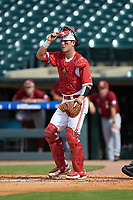 Andy Cosgrove (2) of the North Carolina State Wolfpack on defense against the Boston College Eagles in Game Two of the 2017 ACC Baseball Championship at Louisville Slugger Field on May 23, 2017 in Louisville, Kentucky. The Wolfpack defeated the Eagles 6-1. (Brian Westerholt/Four Seam Images)