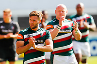 5th June 2021; Mattioli Woods Welford Road Stadium, Leicester, Midlands, England; Gallagher Premiership Rugby, Leicester Tigers versus Bristol Bears; Johnny McPhillips of Leicester Tigers applauds the home supporters after the final whistle