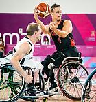 Nik Goncin, Lima 2019 - Wheelchair Basketball // Basketball en fauteuil roulant.<br /> Canada takes on the USA in the gold medal game in men's wheelchair basketball // Le Canada affronte les États-Unis dans le match pour la médaille d'or en basketball en fauteuil roulant masculin. 31/08/2019.