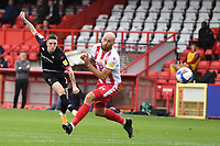 Ashley Hunter of Salford City F.C. shoots wide during Stevenage vs Salford City, Sky Bet EFL League 2 Football at the Lamex Stadium on 3rd October 2020