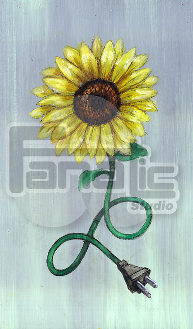 Illustrative image of plug connecting to flower representing green energy