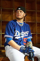 Glendale Desert Dogs Alex Verdugo (51), of the Los Angeles Dodgers organization, sits in the dugout before the Bowman Hitting Challenge on October 8, 2016 at the Salt River Fields at Talking Stick in Scottsdale, Arizona.  (Mike Janes/Four Seam Images)