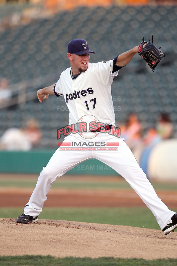 Jeremy Hefner #17 of the Tucson Padres plays in a Pacific Coast League game against the Sacramento RiverCats at Kino Stadium on June 24, 2011  in Tucson, Arizona. Bill Mitchell/Four Seam Images.