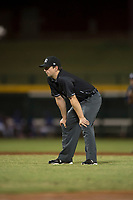 Field umpire Ethan Gorsak during an Arizona League game between the AZL Cubs 1 and the AZL Brewers at Sloan Park on June 29, 2018 in Mesa, Arizona. The AZL Cubs 1 defeated the AZL Brewers 7-1. (Zachary Lucy/Four Seam Images)