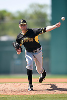 Pittsburgh Pirates pitcher Josh Smith (98) during a minor league spring training game against the New York Yankees on March 22, 2014 at Pirate City in Bradenton, Florida.  (Mike Janes/Four Seam Images)