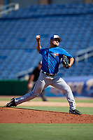 Toronto Blue Jays pitcher Francisco Rios (26) delivers a pitch during a Florida Instructional League game against the Philadelphia Phillies on September 24, 2018 at Spectrum Field in Clearwater, Florida.  (Mike Janes/Four Seam Images)