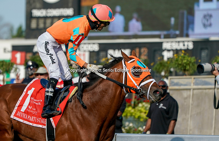 May 15, 2021: Somelikeitbrown, #1, ridden by jockey Jose Ortiz, wins the Dinner Party Stakes on Preakness Stakes Day at Pimlico Race Course in Baltimore, Maryland. Scott Serio/Eclipse Sportswire/CSM