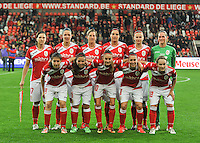 20131009 - LIEGE , BELGIUM : Team Standard pictured with Maud Coutereels , Faustine Cartegnie , Aline Zeler , Cecile De Gernier , Julie Biesmans , Sabrina Broos , Sanne Schoenmakers , Vanity Lewerissa , Tessa Wullaert , Audrey Demoustier and Julie Gregoire during the female soccer match between STANDARD Femina de Liege and GLASGOW City LFC , in the 1/16 final ( round of 32 ) first leg in the UEFA Women's Champions League 2013 in stade Maurice Dufrasne - Sclessin in Liege. Wednesday 9 October 2013. PHOTO DAVID CATRY