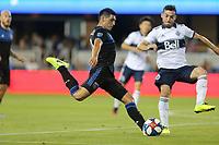 SAN JOSE, CA - AUGUST 24: Cristian Espinoza #10 of the San Jose Earthquakes during a Major League Soccer (MLS) match between the San Jose Earthquakes and the Vancouver Whitecaps FC  on August 24, 2019 at Avaya Stadium in San Jose, California.