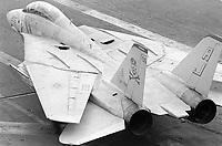"- F 14 ""Tomcat"" fighter aircraft on Roosevelt aircraft carrier (April 1989)<br /> <br /> - aereo da caccia F 14 ""Tomcat"" a bordo della portaerei Roosevelt  (aprile 1989)"