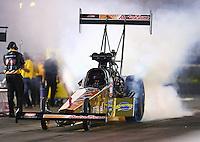 Jun 19, 2015; Bristol, TN, USA; NHRA top fuel driver Leah Pritchett during qualifying for the Thunder Valley Nationals at Bristol Dragway. Mandatory Credit: Mark J. Rebilas-