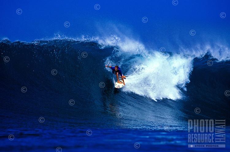 David Gomez surfing in Honolua Bay on Maui