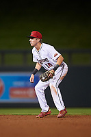 Scottsdale Scorpions second baseman Nick Maton (16), of the Philadelphia Phillies organization, during an Arizona Fall League game against the Glendale Desert Dogs on September 20, 2019 at Salt River Fields at Talking Stick in Scottsdale, Arizona. Scottsdale defeated Glendale 3-2. (Zachary Lucy/Four Seam Images)