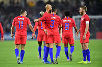 ORLANDO, FL - NOVEMBER 15: Aaron Long #3 of the United States scores a header goal and celebrates with his US Men's teammates during a game between Canada and USMNT at Exploria Stadium on November 15, 2019 in Orlando, Florida.