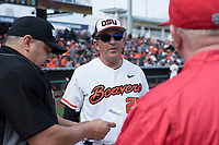 Oregon State Beavers interim head coach Pat Bailey before a game against the New Mexico Lobos on February 15, 2019 at Surprise Stadium in Surprise, Arizona. Oregon State defeated New Mexico 6-5. (Zachary Lucy/Four Seam Images)