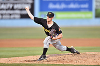 West Virginia Power pitcher Matt  Frawley (32) delivers a pitch during a game against the Asheville Tourists at McCormick Field on May 11, 2017 in Asheville, North Carolina. The Power defeated the Tourists 2-1. (Tony Farlow/Four Seam Images)