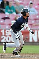 Eugene Emeralds outfielder Donavan Tate #32 bats against the Salem-Keizer Valcanoes at Valcanoes Stadium on August 9, 2011 in Salem-Keizer,Oregon. Eugene defeated Salem-Keizer 13-7.(Larry Goren/Four Seam Images)