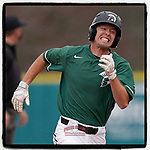 Left fielder Jeff Taylor (19) of the University of South Carolina Upstate Spartans rounds second, headed to third with a triple in a game against the Presbyterian College Blue Hose on Tuesday, March 23, 2021, at Cleveland S. Harley Park in Spartanburg, South Carolina. (Tom Priddy/Four Seam Images)