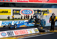 Aug 8, 2020; Clermont, Indiana, USA; NHRA top fuel driver Clay Millican during qualifying for the Indy Nationals at Lucas Oil Raceway. Mandatory Credit: Mark J. Rebilas-USA TODAY Sports
