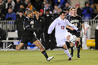 Virginia Cavaliers Jonathan Villanueva (10) plays the ball during the first semi-final match of the 2009 NCAA Men's College Cup against the Wake Forest Demon Deacons at WakeMed Soccer Park in Cary, NC on December 11, 2009.