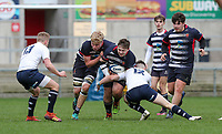 Wednesday 6th March 2019   Ulster Schools Cup - Semi Final 2<br /> <br /> Dillon Sedge on the charge during the Ulster Schools Cup semi-final between MCB and Wallace High School at Kingspan Stadium, Ravenhill Park, Belfast, Northern Ireland. Photo by John Dickson / DICKSONDIGITAL
