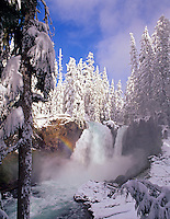 M00165M.tiff   Sahalie Falls with snow and small rainbow. Willamette National Forest. Oregon