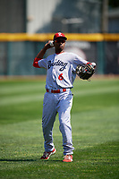 Reading Fightin Phils shortstop Malquin Canelo (6) warms up before a game against the Erie SeaWolves on May 18, 2017 at UPMC Park in Erie, Pennsylvania.  Reading defeated Erie 8-3.  (Mike Janes/Four Seam Images)