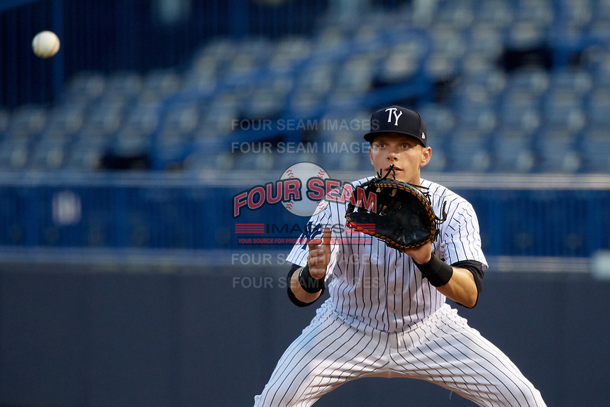 Tampa Yankees first baseman Matt Snyder (29) waits to receive a throw during a game against the Fort Myers Miracle on April 12, 2017 at George M. Steinbrenner Field in Tampa, Florida.  Tampa defeated Fort Myers 3-2.  (Mike Janes/Four Seam Images)