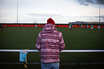 Redcar Athletic 1 Holker Old Boys 2, 31/10/2020. BM Bi-Folding Doors Football Park, Redcar, FA Vase First Round. A spectator watching the first-half action as Redcar Athletic host Holker Old Boys in an FA Vase First Round tie at the BM Bi-Folding Doors Football Park, Redcar. The club was established in 1993 as Teesside Athletic but changed to Redcar Athletic in 2010 and were promoted into the Northern League Division Two in 2018. The visitors from the North West Counties League won this match by 2-1, watched by a crowd of 197 spectators. Photo by Colin McPherson.