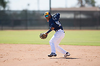 Milwaukee Brewers second baseman Yeison Coca (96) throws to first base during an Instructional League game against the Los Angeles Dodgers at Maryvale Baseball Park on September 24, 2018 in Phoenix, Arizona. (Zachary Lucy/Four Seam Images)