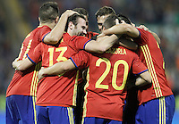 Spain's players celebrate goal during international friendly match. November 13,2015.(ALTERPHOTOS/Acero)