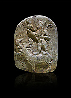 Plaque depicting the Hittite Protector of the wild standing on the back of a deer. Steatite - 14th - 13th century BC - Corum Yenikoy  - Museum of Anatolian Civilisations, Ankara, Turkey. Against a black background