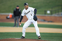 Wake Forest Demon Deacons starting pitcher Donnie Sellers (1) in action against the Kent State Golden Flashes in game two of a double-header at David F. Couch Ballpark on March 4, 2017 in Winston-Salem, North Carolina.  The Demon Deacons defeated the Golden Flashes 5-0.  (Brian Westerholt/Four Seam Images)