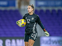 ORLANDO, FL - FEBRUARY 21: Laurina Oliveros #12 of Argentina holds the ball during a game between Canada and Argentina at Exploria Stadium on February 21, 2021 in Orlando, Florida.