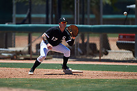 AZL White Sox first baseman Tyler Osik (17) prepares to catch a throw during an Arizona League game against the AZL Athletics Gold on July 4, 2019 at Camelback Ranch in Glendale, Arizona. The AZL White Sox defeated the AZL Athletics Gold 6-2. (Zachary Lucy/Four Seam Images)