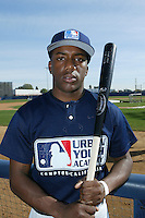 February 10 2008: Malachi Moore participates in a MLB pre draft workout for high school players at the Urban Youth Academy in Compton,CA.  Photo by Larry Goren/Four Seam Images