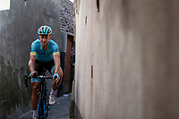 Michael Valgren Andersen (DEN/Astana) returning to the teambus through a small alley behind the finish zone after the race. <br /> <br /> Binckbank Tour 2018 (UCI World Tour)<br /> Stage 7: Lac de l'eau d'heure (BE) - Geraardsbergen (BE) 212.7km