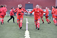 players of Zulte waregem  pictured during the warming up of a female soccer game between SV Zulte - Waregem and Sporting Charleroi on the eleventh matchday of the 2020 - 2021 season of Belgian Scooore Womens Super League , saturday 23 th of January 2021  in Zulte , Belgium . PHOTO SPORTPIX.BE   SPP   DIRK VUYLSTEKE